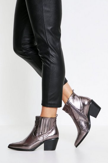 Pewter Western Ankle Boot