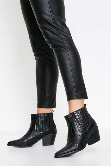 Black Snake Embossed Western Ankle Boot