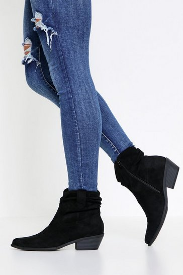 Black Slouch Faux Suede Western Boot