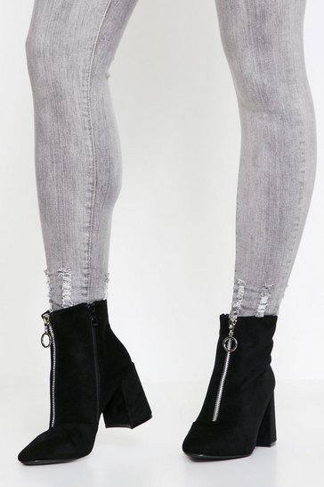 Black Faux suede zip front ankle boots