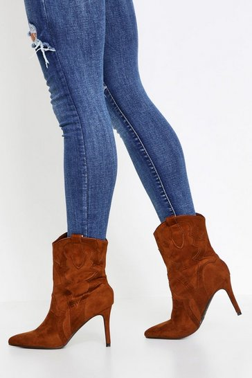 Tan Heeled Western Ankle Boot