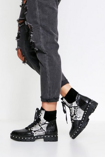 Black Snake & Croc Mixed Ankle Boot