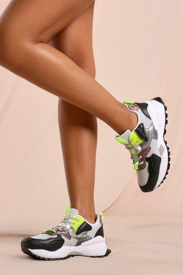 Blackwhite Neon Pop Mesh Panel Sneakers