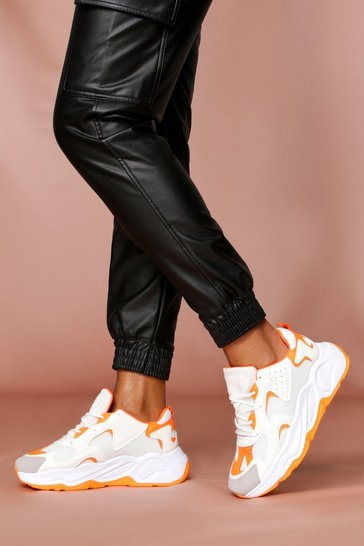 Orange Chunky Sole Colour Block Trainer