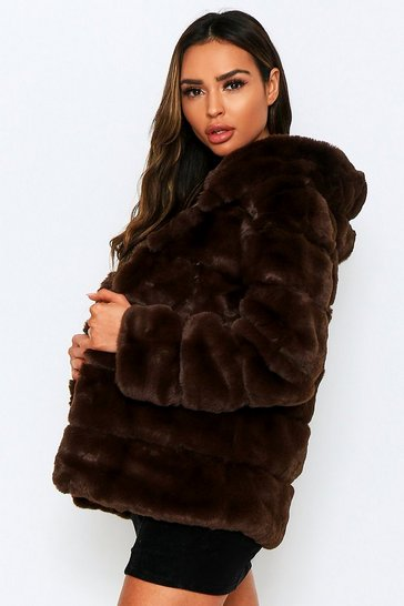 Chocolate Faux Fur Pannel Hooded Coat