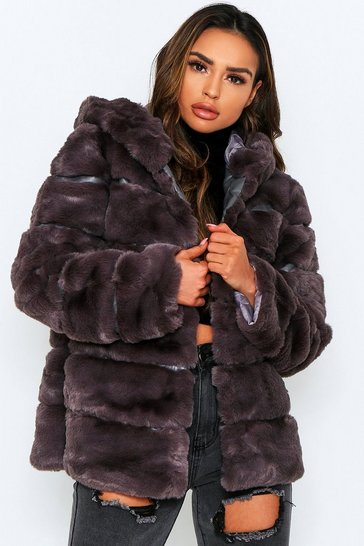 Grey Faux Fur Panel Hooded Coat