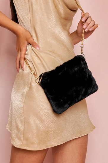 Black Faux Fur Cross Body Bag