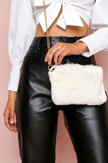 Cream Faux Fur Cross Body Bag