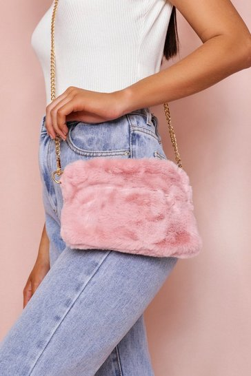 Pink Faux Fur Cross Body Bag