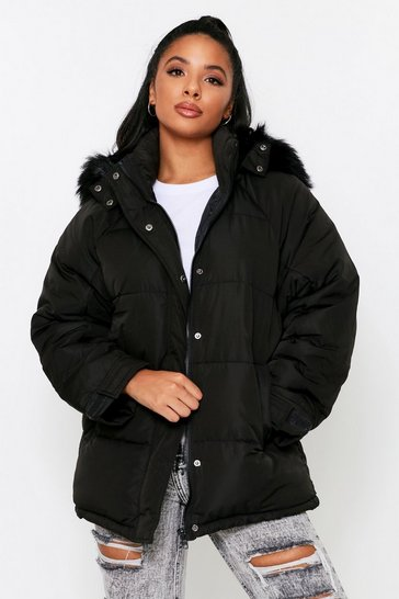Black Detachable Faux Fur Hood Parka