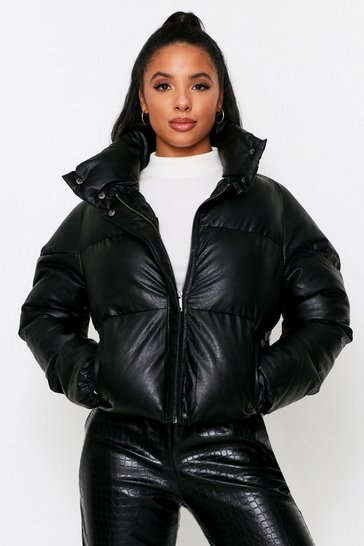 Black leather look Padded Puffer Jacket
