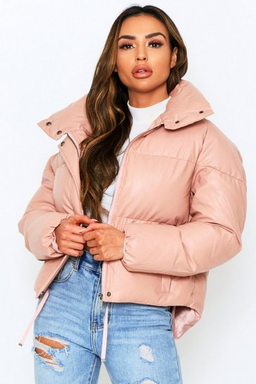 Pink leather look Padded Puffer Jacket