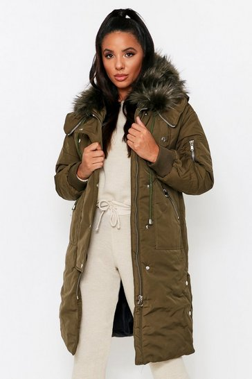 Khaki Maxi Faux Fur Hooded Parka