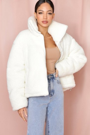 White Teddy Fur Padded Puffer Jacket