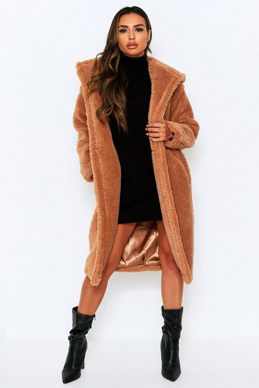 Camel Longline Hooded Teddy Fur Coat