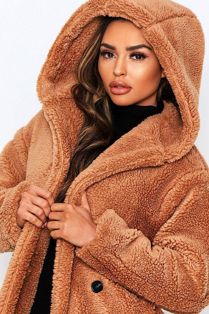 Longline Hooded Teddy Faux Fur Coat