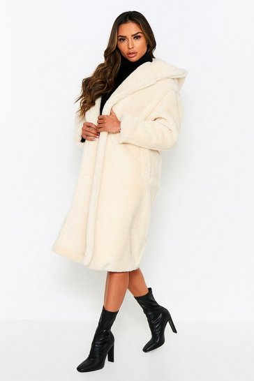 Cream Longline Hooded Teddy Fur Coat