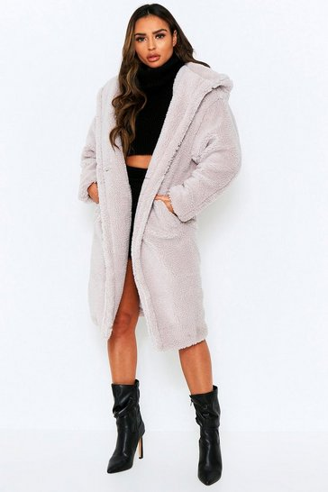 Grey Longline Hooded Teddy Fur Coat