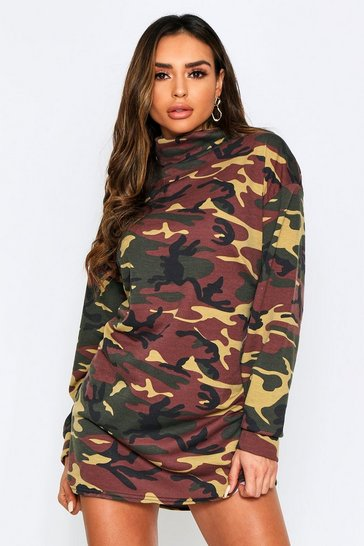Womens Khaki Camo High Neck