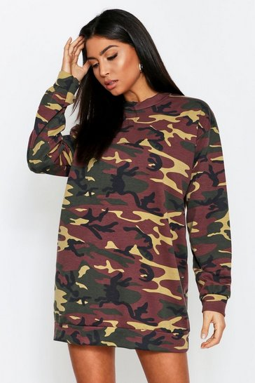 Womens Khaki Camo Oversized Sweat