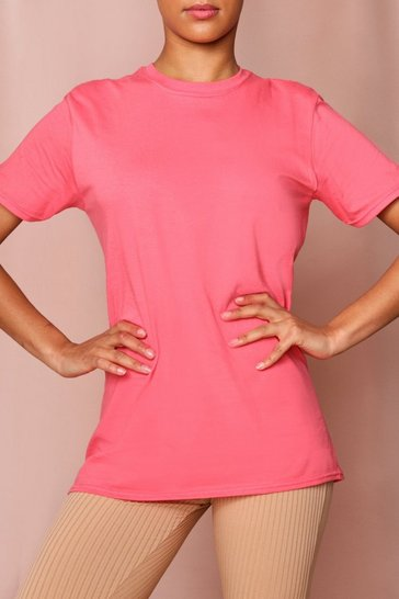 Coral Bright Oversized Boyfriend T-Shirt