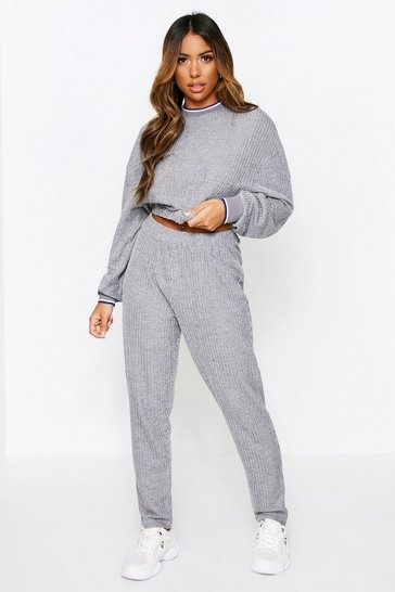 Grey Knitted Sport Cuff Crop + Jogger Set