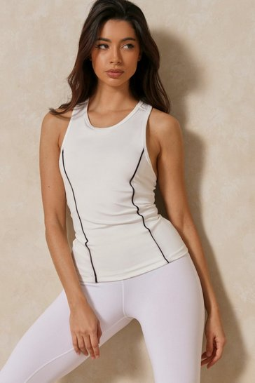 White Elastic Back Sports Tank Top Top