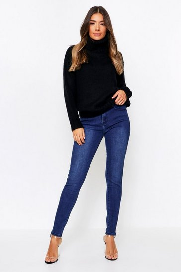 Womens Blue Basic Skinny Jeans