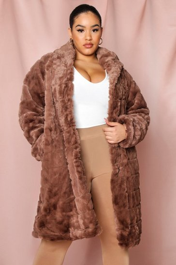 Brown Hooded Faux Fur Pannel Coat