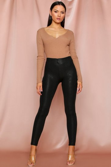 Black Snake Print Faux Leather Pants