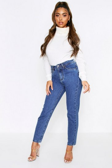 Blue mid wash high waisted mom jeans