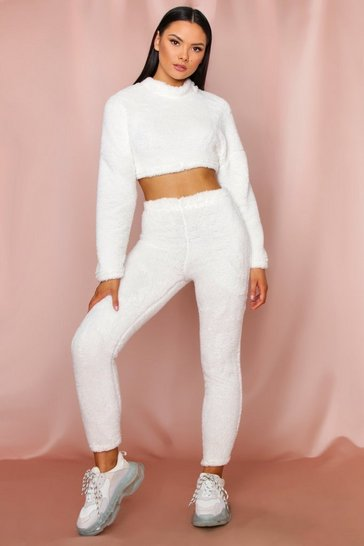 Cream Teddy Faux Fur Cropped Lounge Set