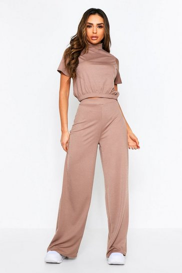 Mocha High Neck Boxy Lounge Set