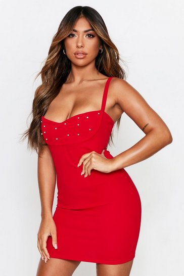 Red Pearl Cup Mini Dress