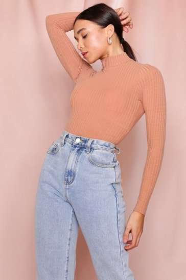 Camel High Neck Rib Bodysuit