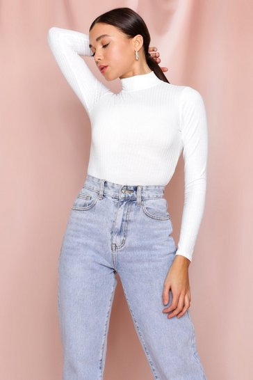 White High Neck Rib Bodysuit