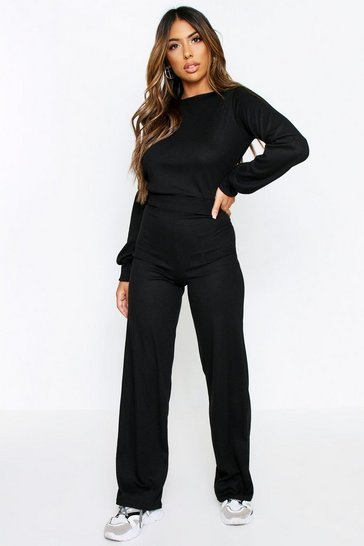 Black Balloon Sleeve Wide Leg Lounge Set