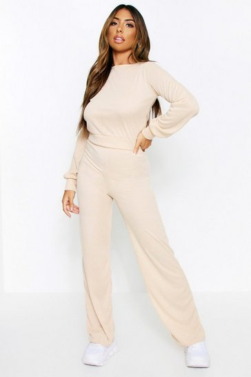 Camel Balloon Sleeve Wide Leg Lounge Set