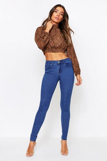 Mid blue Mid Rise Skinny Jeans