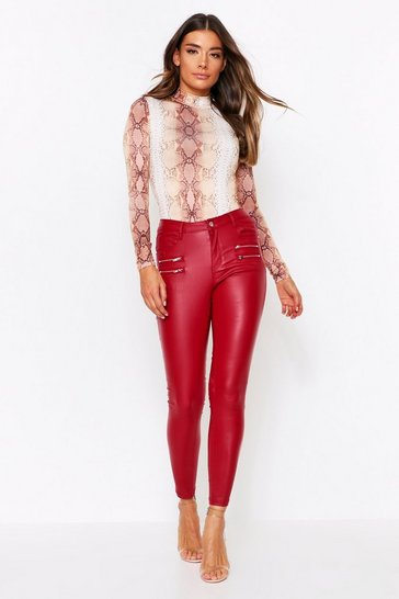Womens Red Zip Detail Skinny Jeans