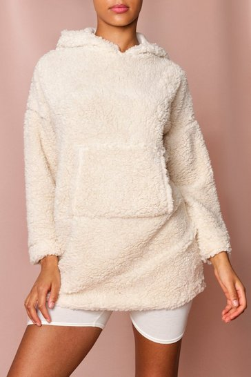 Cream Teddy Hooded Sweatshirt