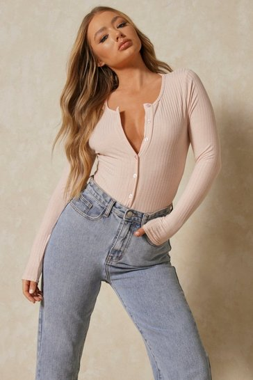 Blush Rib Button Front Thong Bodysuit