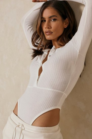Cream Long Sleeve Rib Popper Front Bodysuit