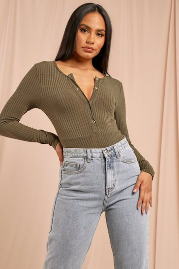 Khaki Popper Front Long Sleeve Rib Bodysuit