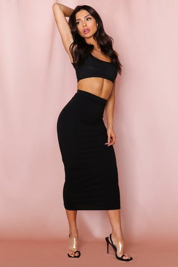 Black Jersey Midaxi Skirt