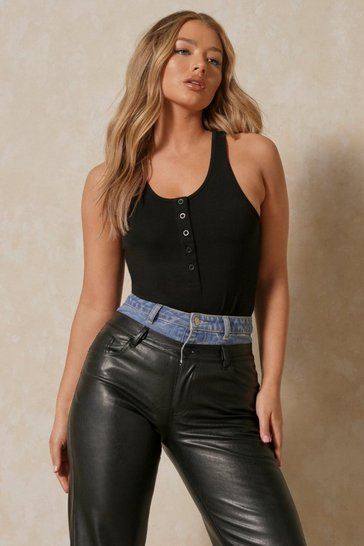 Black Button Detail Vest Top