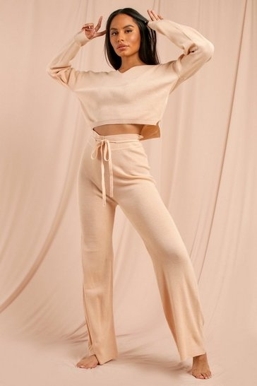 Nude Knitted Crop Jumper And Wide Leg Trouser Set