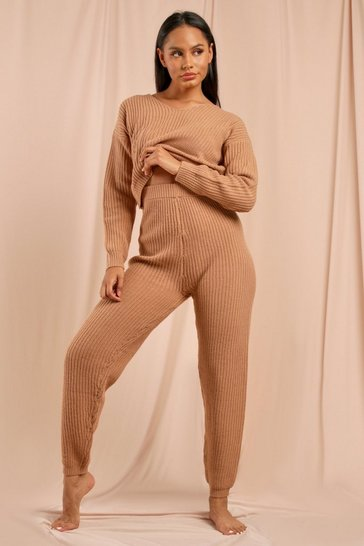 Camel Knitted Cropped Jumper And Jogger Set