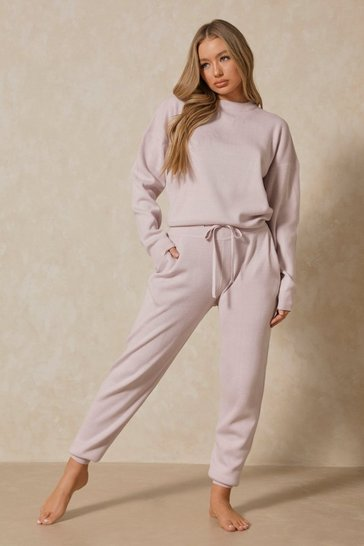 Lilac Crew Neck Knitted Lounge Set