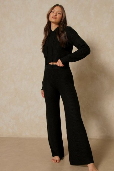 Black Fisherman Knit Crop Hoodie + Wide Leg Set